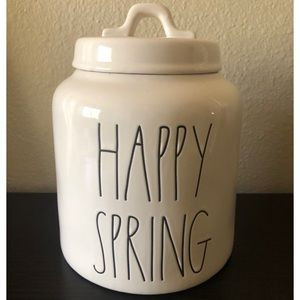"""NEW Rae Dunn """"HAPPY SPRING"""" Canister"""